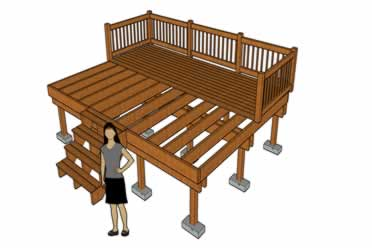 Floating deck without digging holes diagram